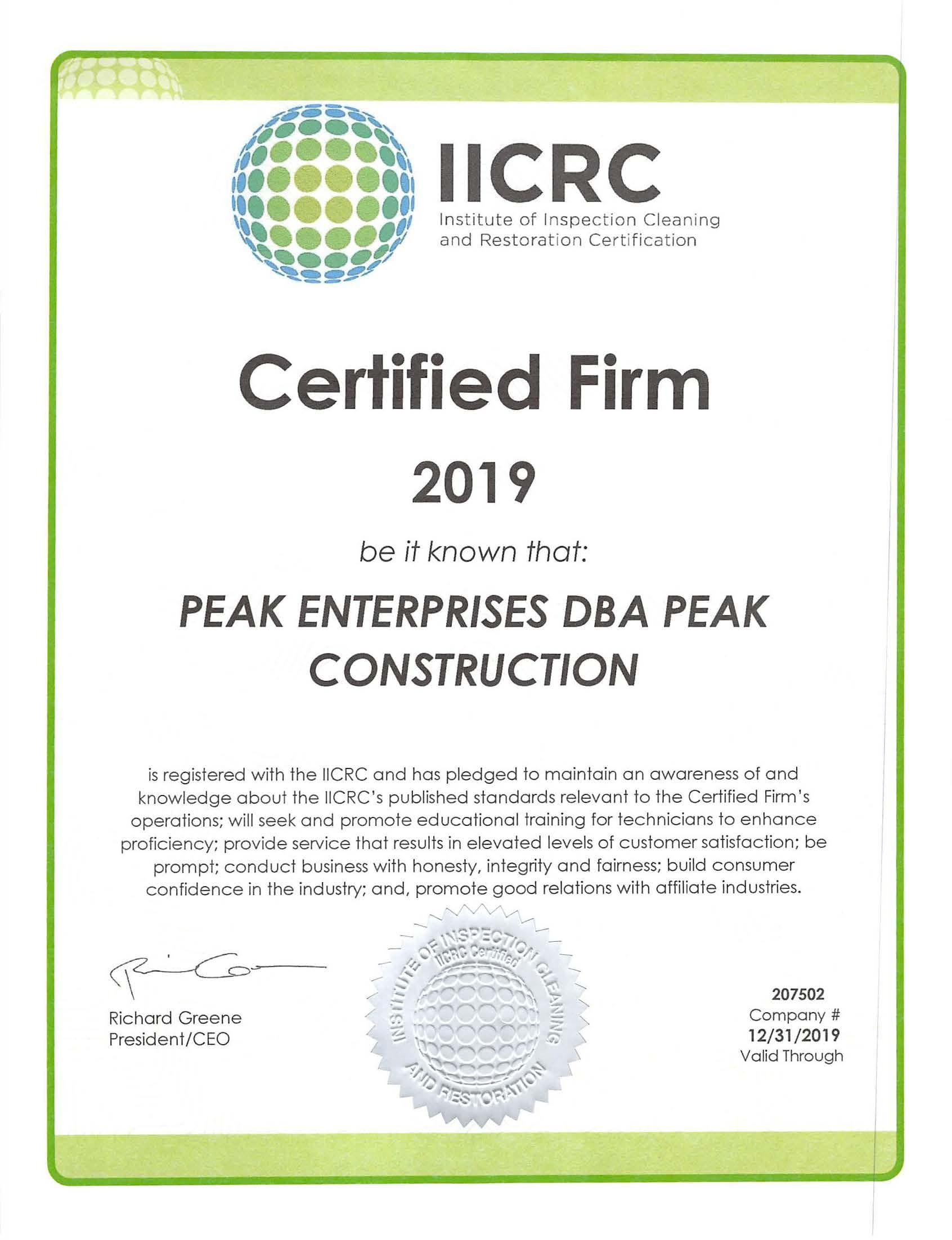 IICRC Peak 2019