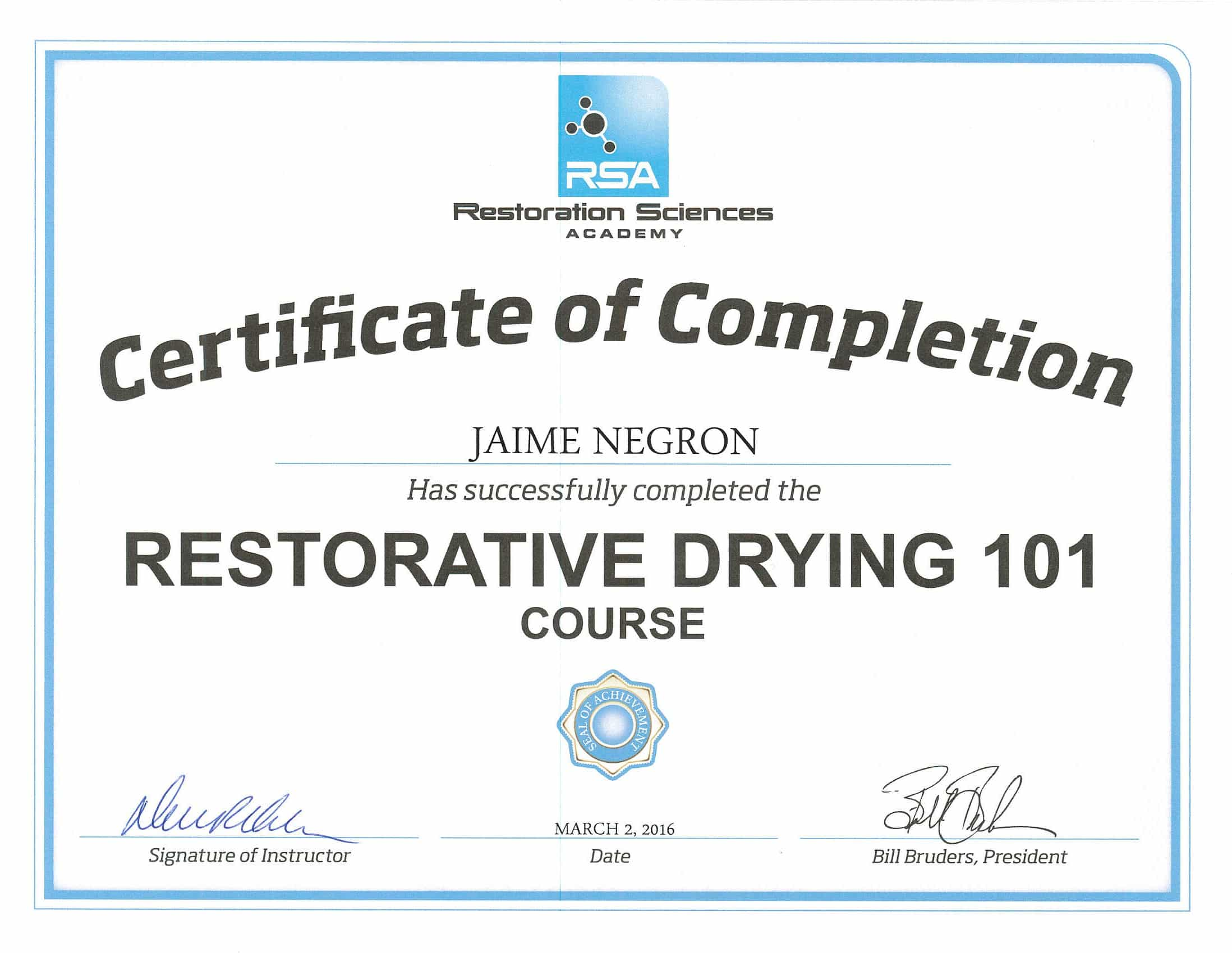 Certificate of Restorative Drying 101 | Peak Construction