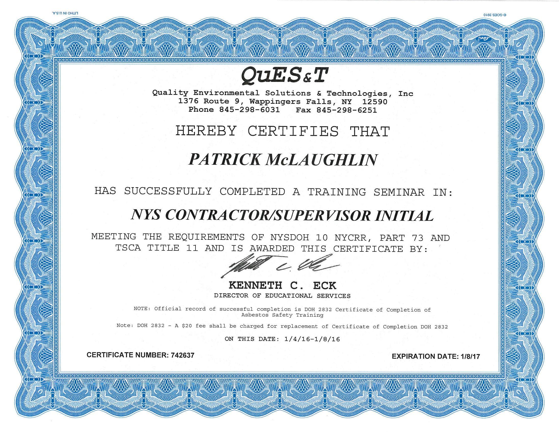 construction asbestos certification peak supervisor certified contractor