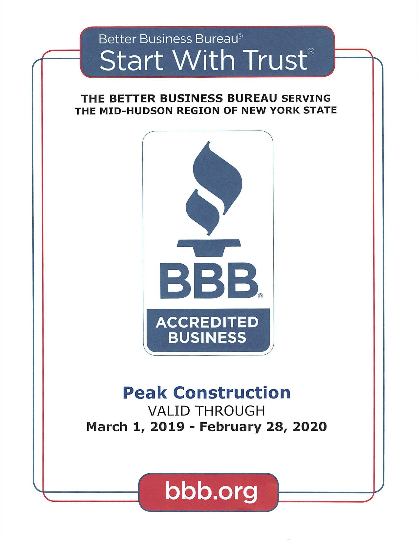 Better Business Bureau Serving Hudson Valley, Peak Construction