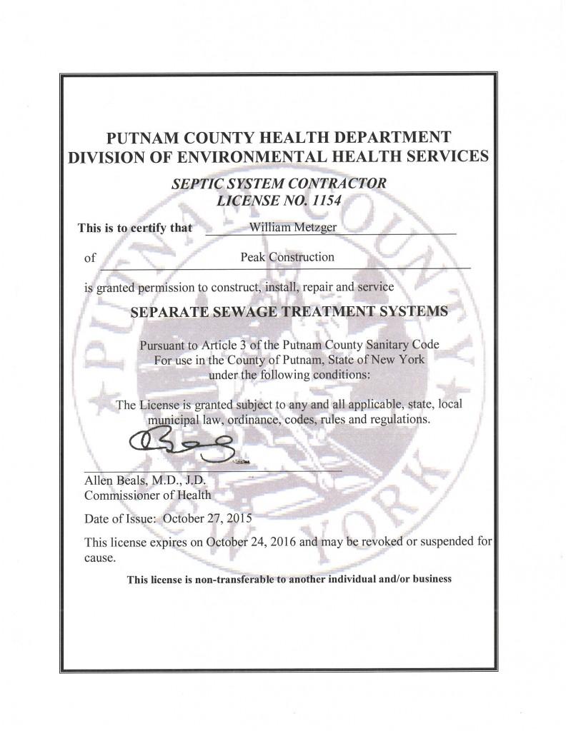Putnam Co Septic Cert Expires 10 24 16 Peak Construction