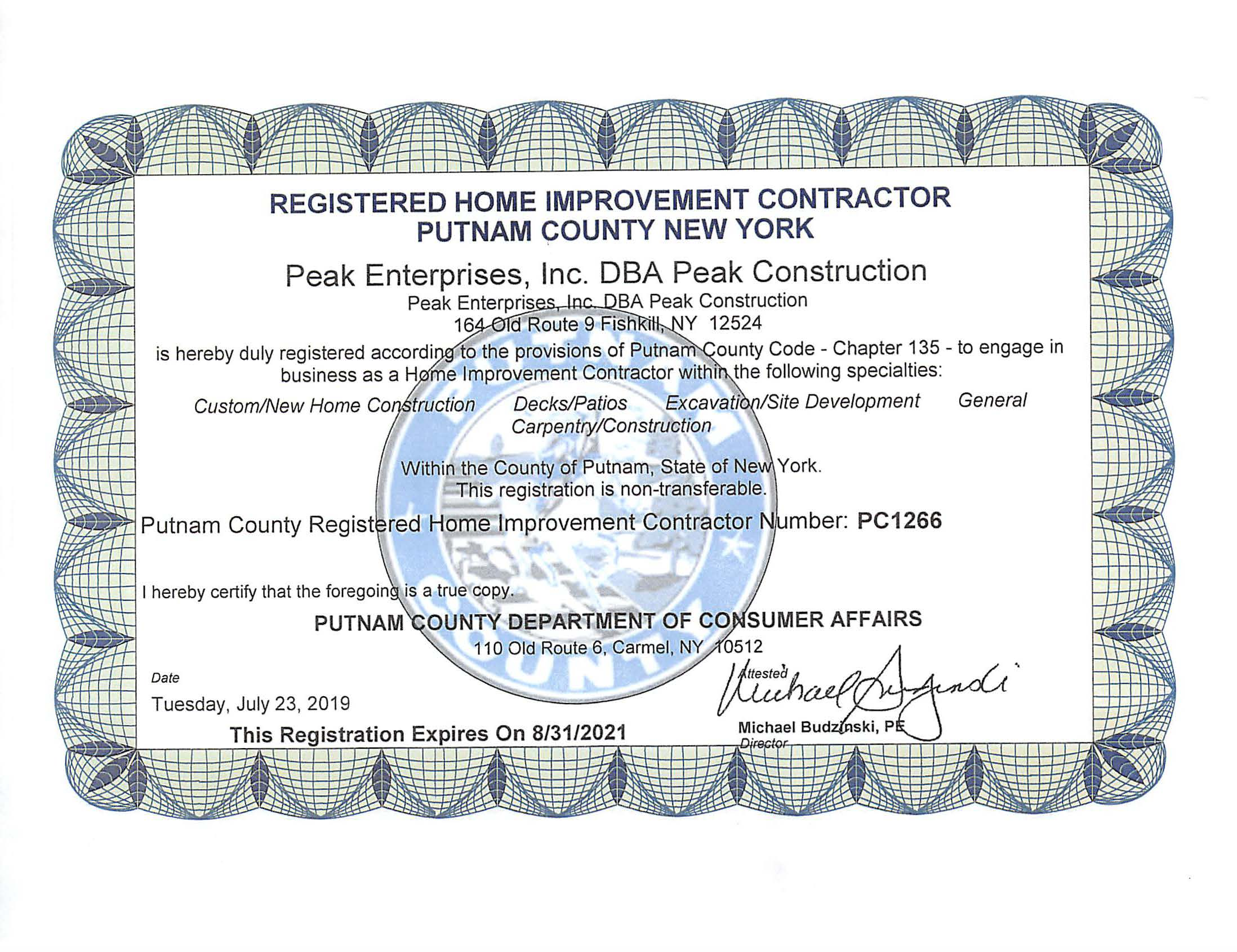 Putnam License - Home Improvement EX-8-31-21