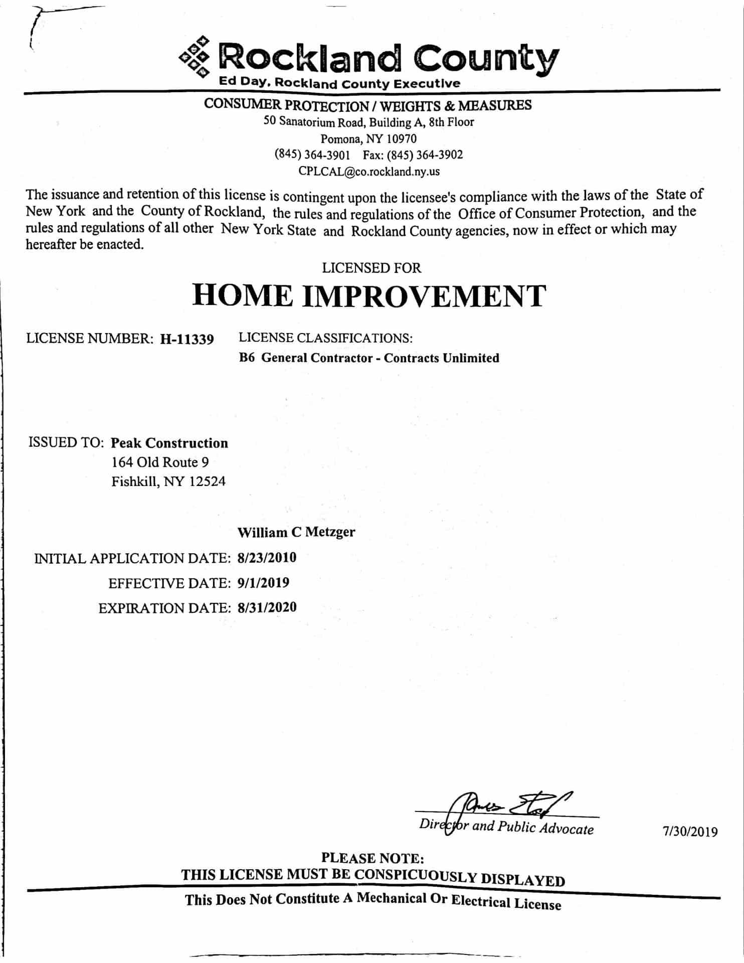 Rockland Contractor License