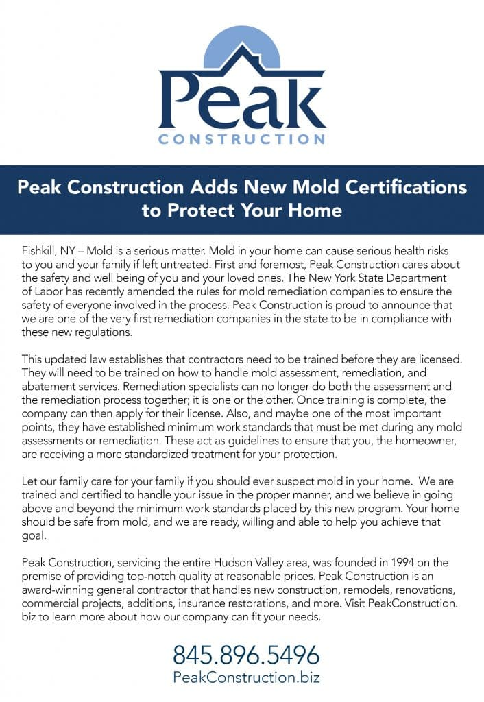 State of NY and New Mold Regulations | Peak Construction