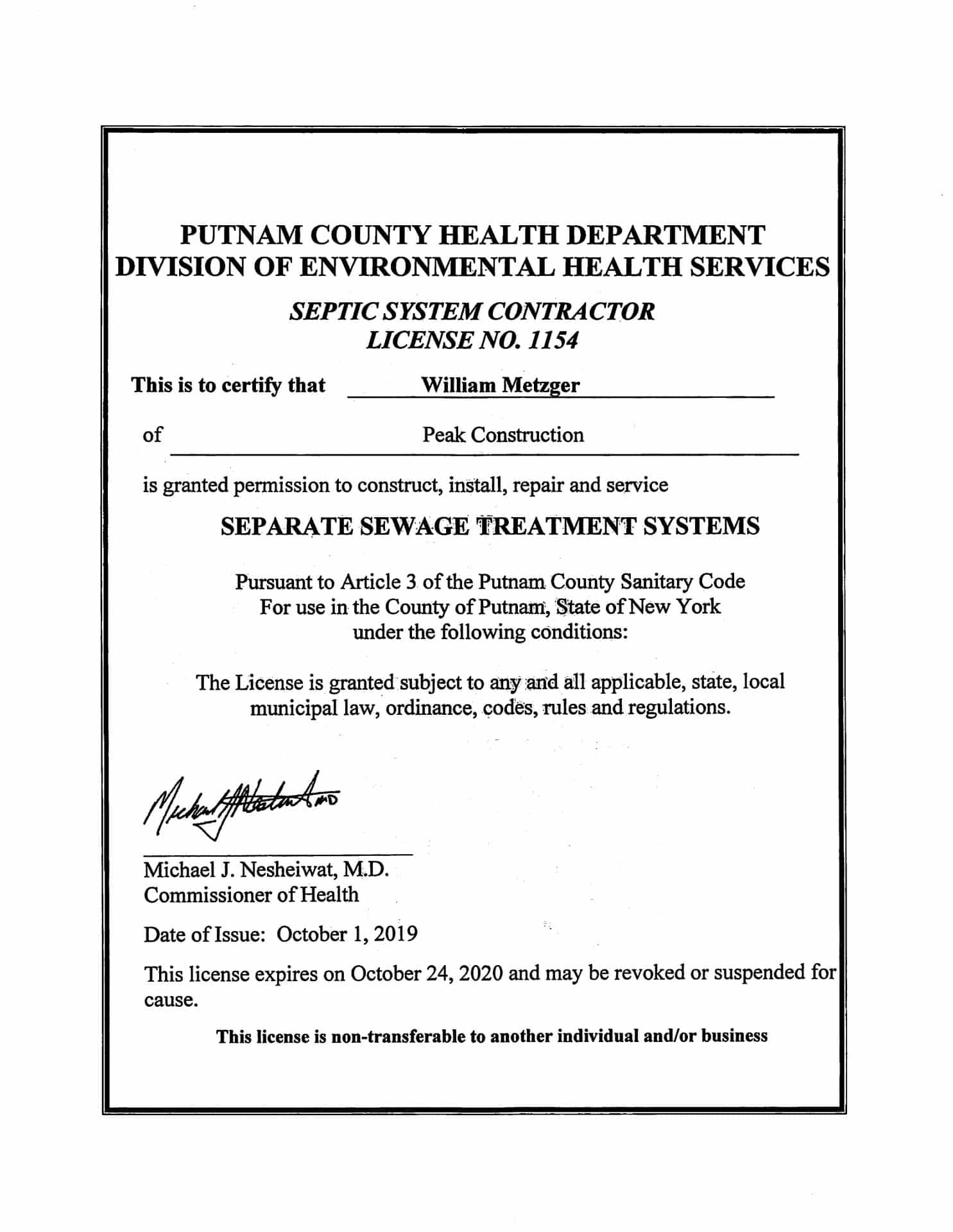 Putnam County Septic License