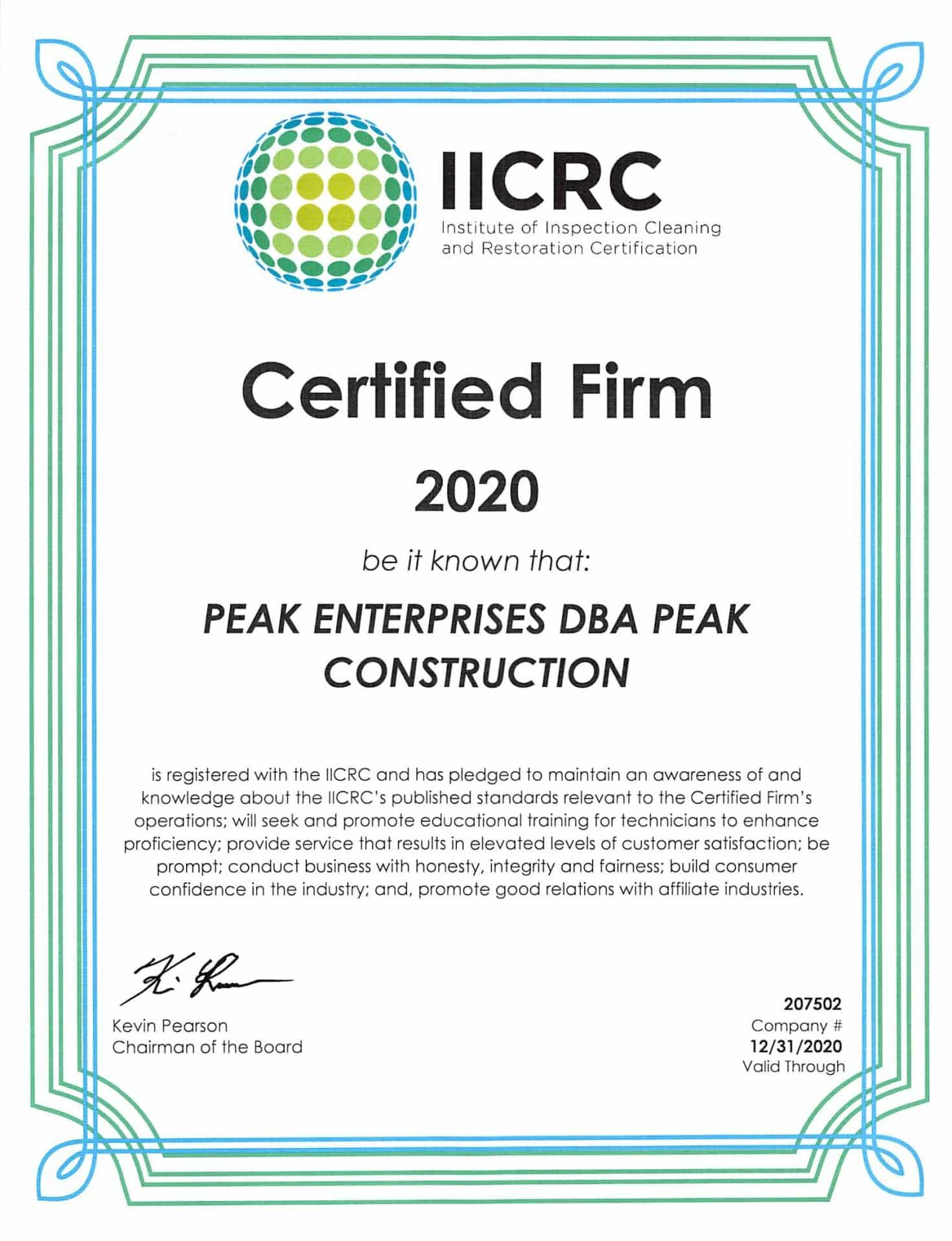 IICRC Certified Peak Construction | General Contractor